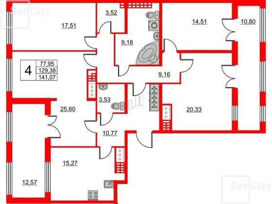 4-комнатная квартира, 129.38 м²; этаж: 8 - купить в Санкт-Петербурге