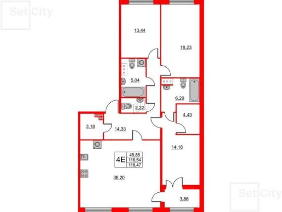 3-комнатная квартира, 116.54 м²; этаж: 2 - купить в Санкт-Петербурге