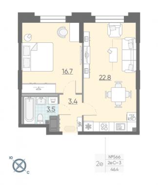 1-комнатная квартира №42 в: Цивилизация на Неве: 46.4 м²; этаж: 3 - купить в Санкт-Петербурге