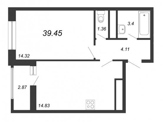 1-комнатная квартира № в: NEW TIME: 39.45 м²; этаж: 3 - купить в Санкт-Петербурге