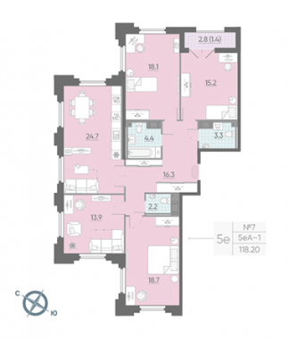 4-комнатная квартира №42 в: Цивилизация на Неве: 118.2 м²; этаж: 4 - купить в Санкт-Петербурге