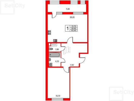 3-комнатная квартира, 93.1 м²; этаж: 2 - купить в Санкт-Петербурге