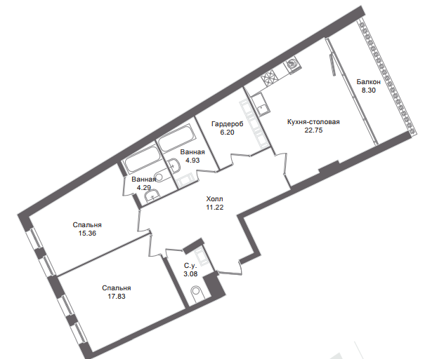 2-комнатная квартира, 93 м²; этаж: 6 - купить в Санкт-Петербурге