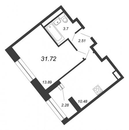 1-комнатная квартира № в: NEW TIME: 31.72 м²; этаж: 3 - купить в Санкт-Петербурге