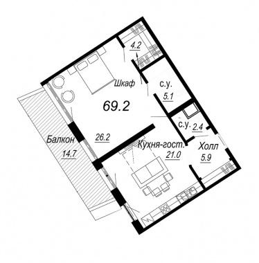 1-комнатная квартира №27 в: Meltzer Hall: 69.2 м²; этаж: 3 - купить в Санкт-Петербурге
