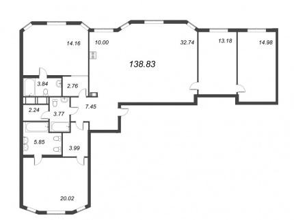 3-комнатная квартира, 138.83 м²; этаж: 3 - купить в Санкт-Петербурге