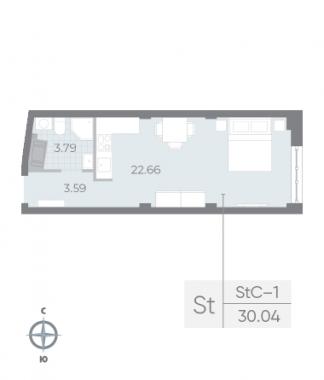 1-комнатная квартира №17А в: Neva Residence: 30.04 м²; этаж: 4 - купить в Санкт-Петербурге