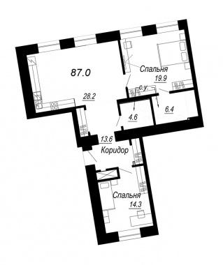 2-комнатная квартира №27 в: Meltzer Hall: 87 м²; этаж: 3 - купить в Санкт-Петербурге
