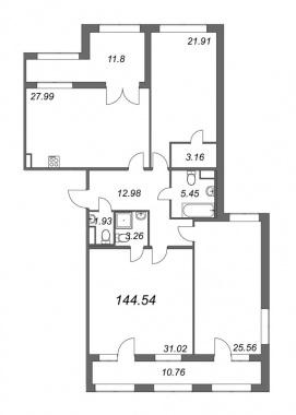 3-комнатная квартира, 144.54 м²; этаж: 6 - купить в Санкт-Петербурге