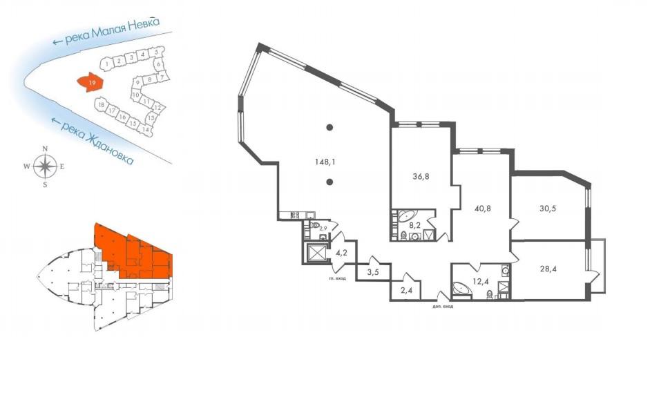 4-комнатная квартира №45 в: ЖК Леонтьевский Мыс: 320.1 м²; этаж: 4 - купить в Санкт-Петербурге