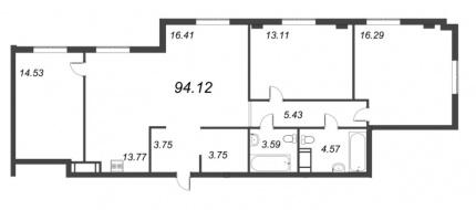 3-комнатная квартира, 94.12 м²; этаж: 4 - купить в Санкт-Петербурге