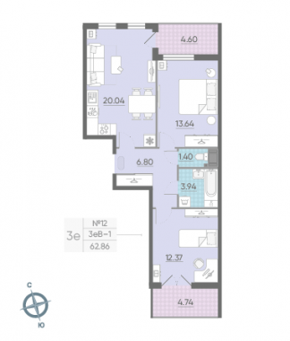 3-комнатная квартира, 62.86 м²; этаж: 9 - купить в Санкт-Петербурге