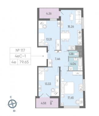 4-комнатная квартира, 79.65 м²; этаж: 13 - купить в Санкт-Петербурге