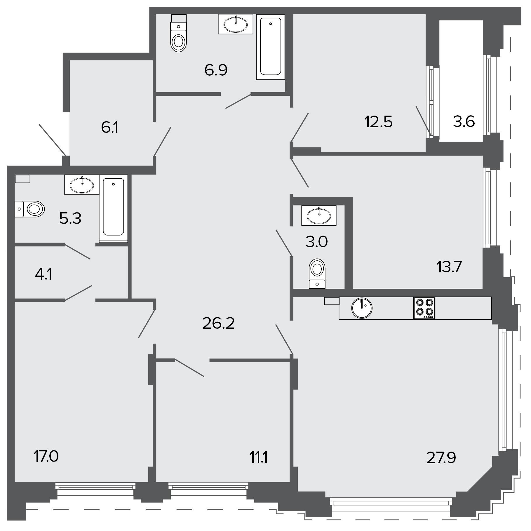 4-комнатная квартира №11 в: ЖК Болконский: 133.7 м²; этаж: 2 - купить в Санкт-Петербурге