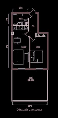1-комнатная квартира №63/14А в: Monodom на Малом: 55.07 м²; этаж: 2 - купить в Санкт-Петербурге