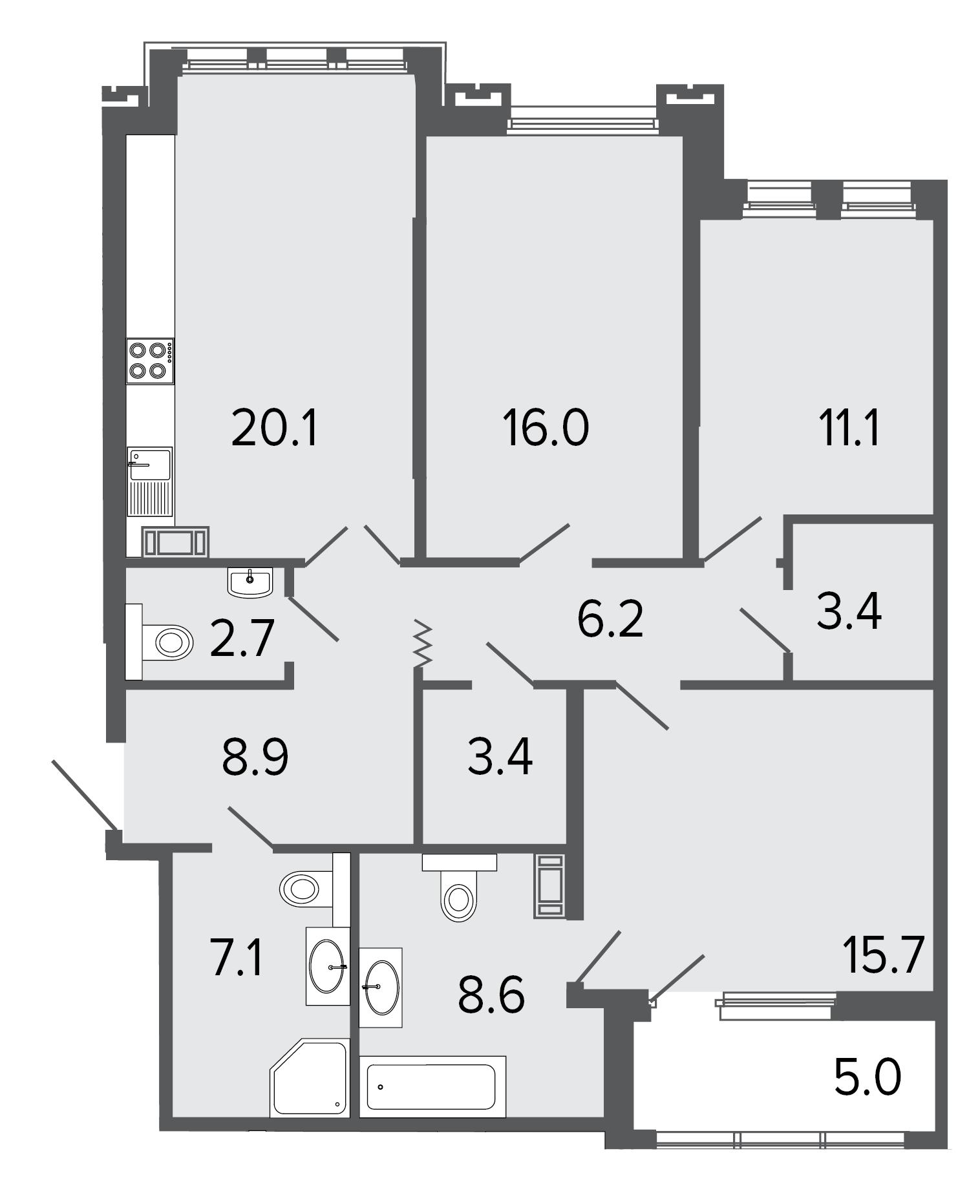 3-комнатная квартира, 103.2 м²; этаж: 6 - купить в Санкт-Петербурге