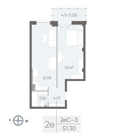2-комнатная квартира №17А в: Neva Residence: 51.3 м²; этаж: 5 - купить в Санкт-Петербурге