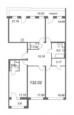 4-комнатная квартира, 132.02 м²; этаж: 8 - купить в Санкт-Петербурге