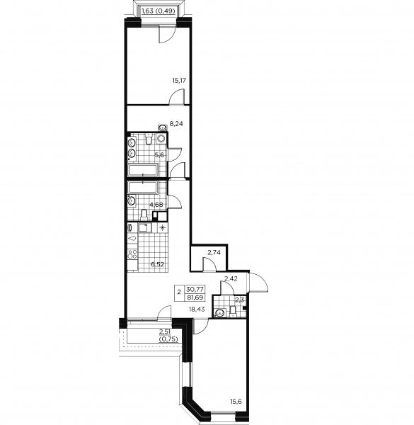 2-комнатная квартира, 82.18 м²; этаж: 9 - купить в Санкт-Петербурге