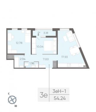 2-комнатная квартира, 54.24 м²; этаж: 14 - купить в Санкт-Петербурге