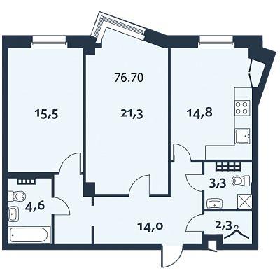 2-комнатная квартира, 76.7 м²; этаж: 4 - купить в Санкт-Петербурге