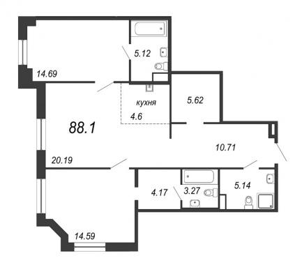 2-комнатная квартира, 88.1 м²; этаж: 7 - купить в Санкт-Петербурге