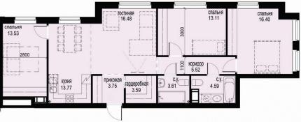 3-комнатная квартира, 94.35 м²; этаж: 7 - купить в Санкт-Петербурге