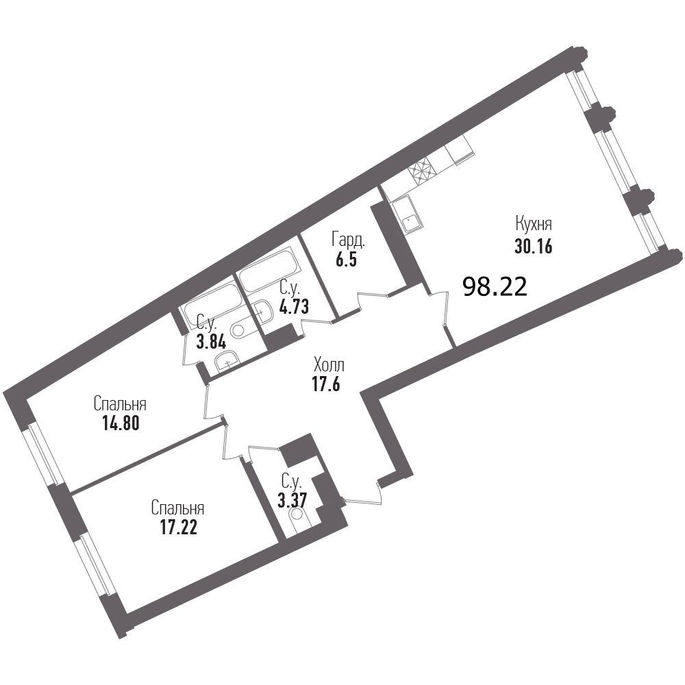 2-комнатная квартира, 100.8 м²; этаж: 5 - купить в Санкт-Петербурге