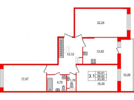 3-комнатная квартира, 88.82 м²; этаж: 8 - купить в Санкт-Петербурге
