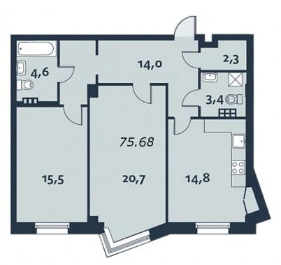 2-комнатная квартира, 76.3 м²; этаж: 3 - купить в Санкт-Петербурге