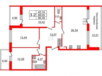 3-комнатная квартира №66 в: Притяжение: 88.05 м²; этаж: 9 - купить в Санкт-Петербурге