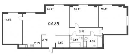 3-комнатная квартира, 94.35 м²; этаж: 8 - купить в Санкт-Петербурге