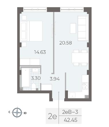 1-комнатная квартира №17А в: Neva Residence: 42.45 м²; этаж: 3 - купить в Санкт-Петербурге