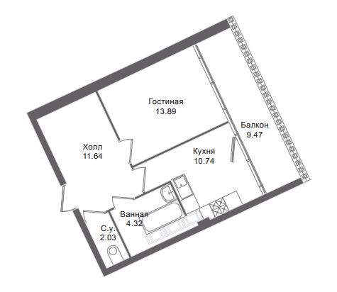 1-комнатная квартира, 45.3 м²; этаж: 6 - купить в Санкт-Петербурге