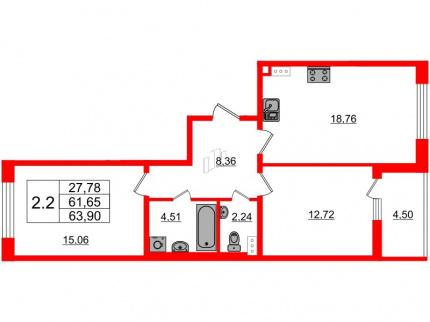 2-комнатная квартира, 61.65 м²; этаж: 9 - купить в Санкт-Петербурге