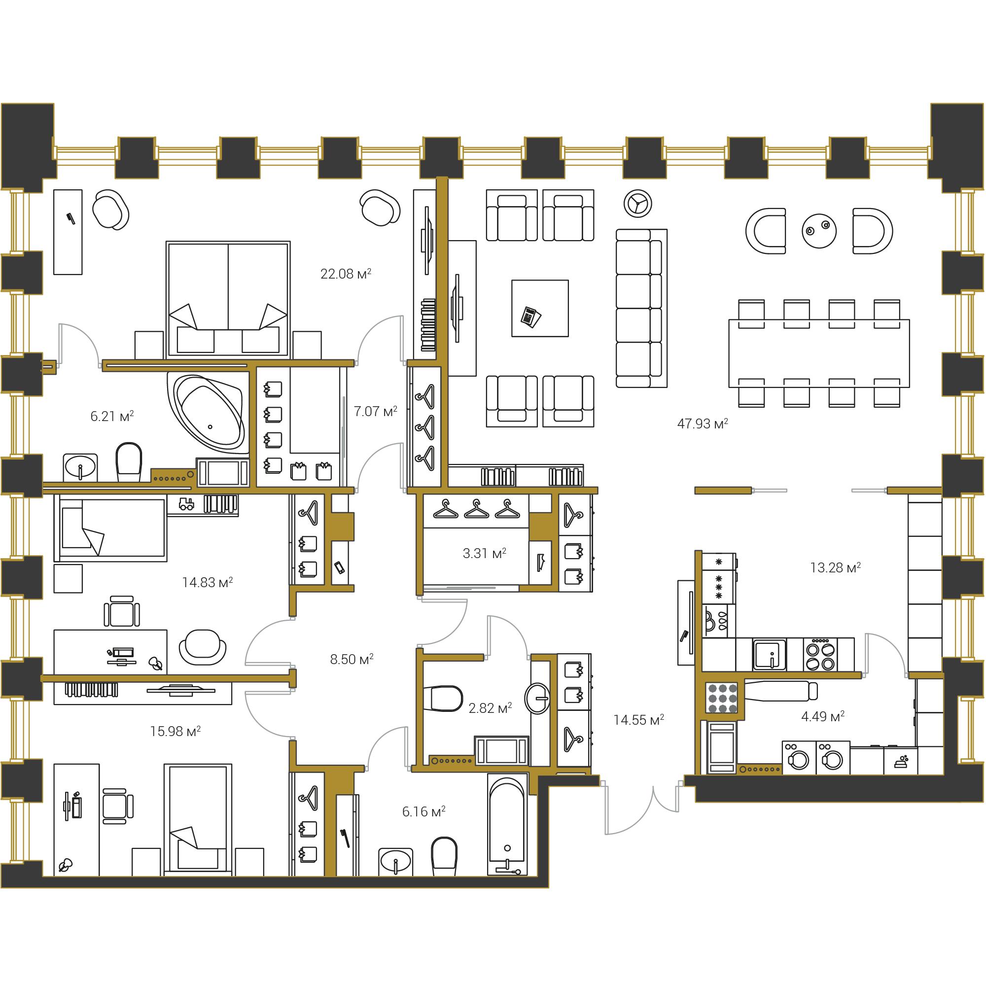 3-комнатная квартира №16 в: Институтский,16: 167.21 м²; этаж: 17 - купить в Санкт-Петербурге
