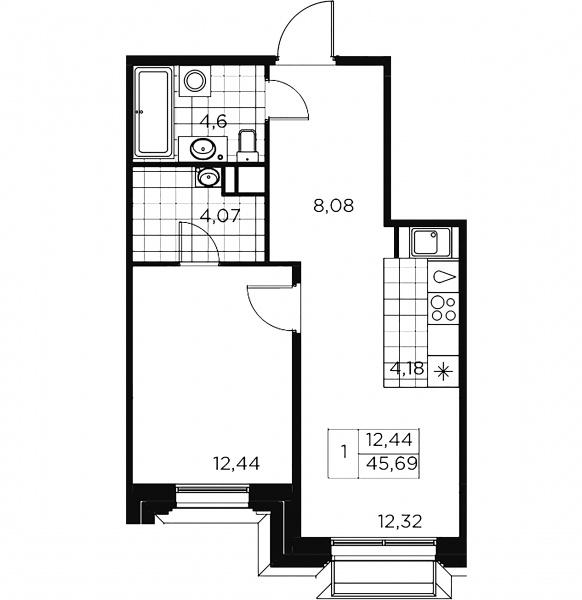 1-комнатная квартира, 45.69 м²; этаж: 3 - купить в Санкт-Петербурге
