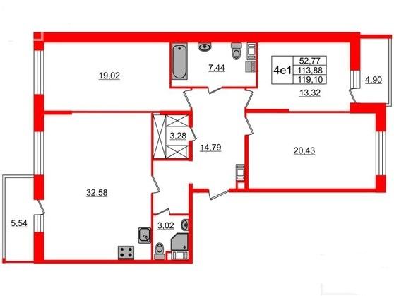 3-комнатная квартира, 113.88 м²; этаж: 6 - купить в Санкт-Петербурге