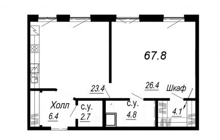 1-комнатная квартира, 67.8 м²; этаж: 3 - купить в Санкт-Петербурге