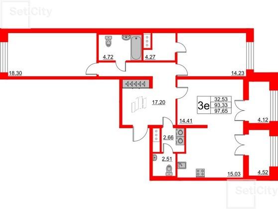 3-комнатная квартира, 93.33 м²; этаж: 8 - купить в Санкт-Петербурге