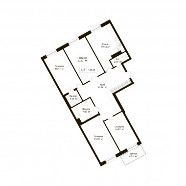 4-комнатная квартира, 137.09 м²; этаж: 5 - купить в Санкт-Петербурге