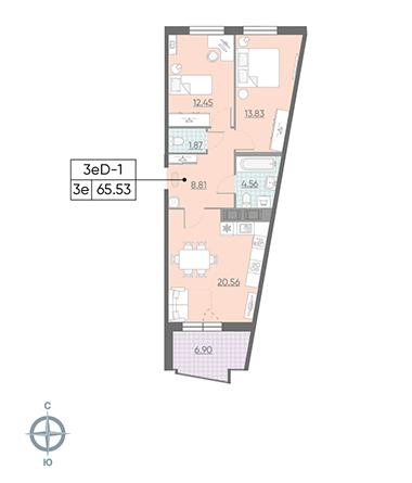 3-комнатная квартира, 65.53 м²; этаж: 9 - купить в Санкт-Петербурге