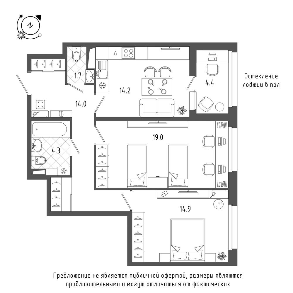 2-комнатная квартира, 70.3 м²; этаж: 4 - купить в Санкт-Петербурге