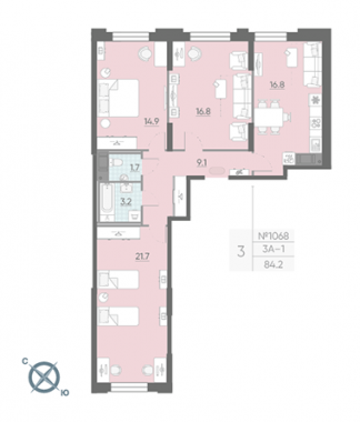 3-комнатная квартира №42 в: Цивилизация на Неве: 84.2 м²; этаж: 3 - купить в Санкт-Петербурге