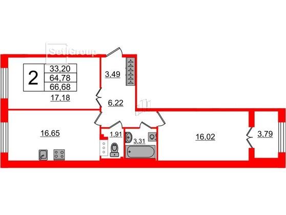 2-комнатная квартира, 64.78 м²; этаж: 3 - купить в Санкт-Петербурге