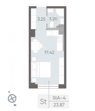 1-комнатная квартира №17А в: Neva Residence: 23.87 м²; этаж: 3 - купить в Санкт-Петербурге