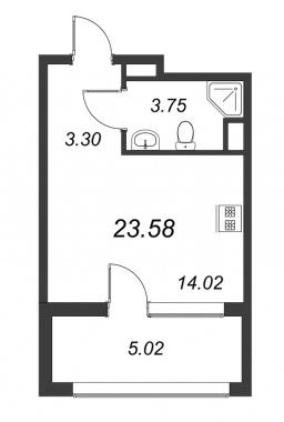 1-комнатная квартира №3А в: Терра: 23.58 м²; этаж: 8 - купить в Санкт-Петербурге