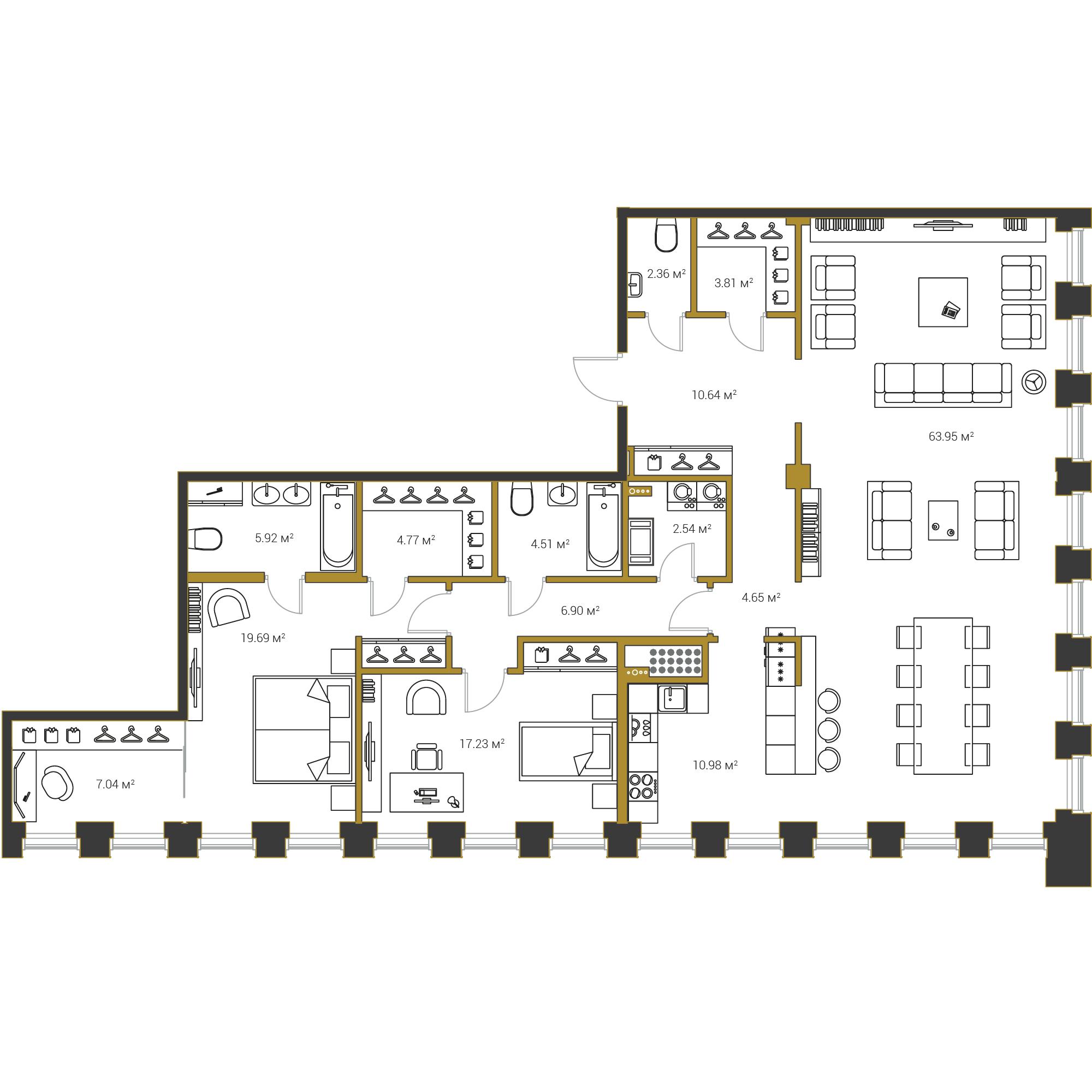 2-комнатная квартира №16 в: Институтский,16: 164.99 м²; этаж: 19 - купить в Санкт-Петербурге