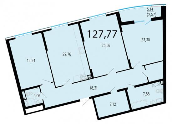 3-комнатная квартира, 129.5 м²; этаж: 2 - купить в Санкт-Петербурге