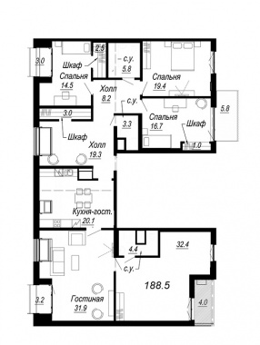 5-комнатная квартира, 188.5 м²; этаж: 8 - купить в Санкт-Петербурге